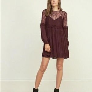 Burgundy Lace Swing Casual Dress